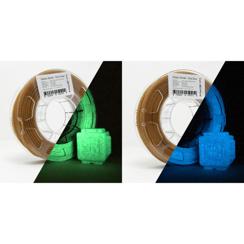 Glitz Gold Flake Glow in the Dark Blue / Green 3D Printing PLA Filament 2pcs