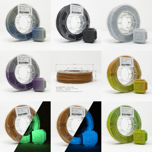 Silver / Gold Flake Color Change Master Set 3D Printing PLA Filament 8pcs