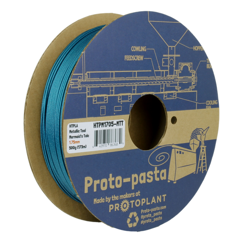 Proto-Pasta Metallic HTPLA - Mermaid's Tale Teal 3D Printing Filament 1.75mm (500 g)