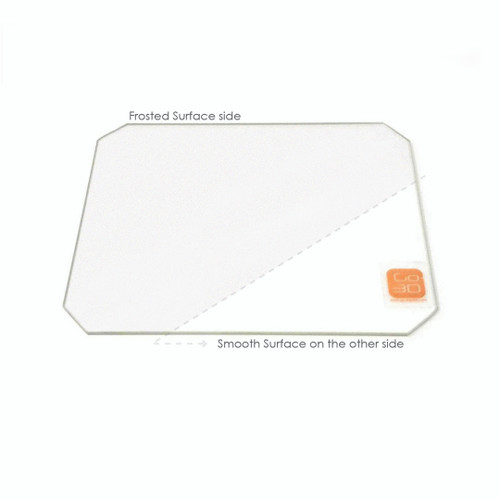 130mm x 160mm Frosted Borosilicate Glass Plate w/ corner cut for MP Mini Select 3D Printer