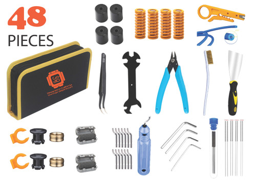 48 Piece 3D Print All You Need Tool Kit for DIY, Maintenance and Cleaning 3D Printer w/Carrying Case