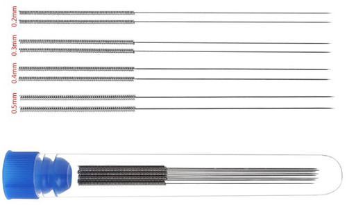 3D Printer Nozzle Cleaning Needles w/ 1x Container Kit (8pcs, 0.2mm, 0.3mm, 0.4mm, 0.5mm)