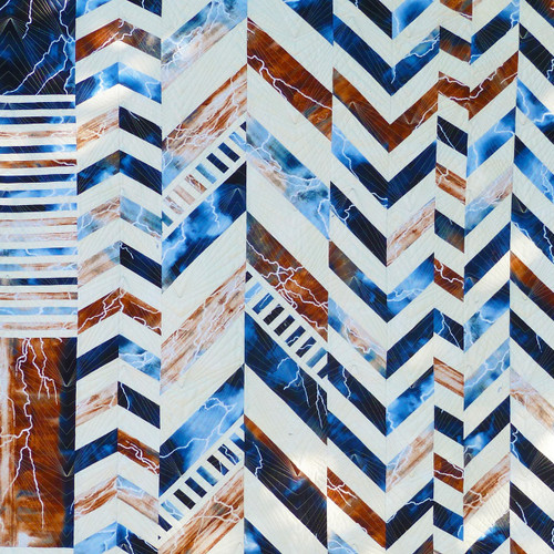 Chevron Cocktail Blue and Brown Quilt