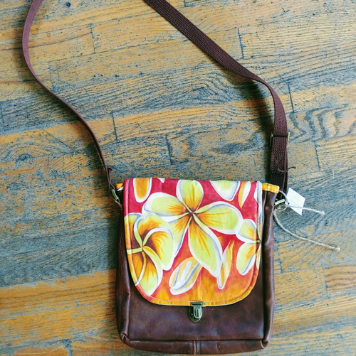 Up-cycled Leather and Wax Canvas Plumeria Cross Body Bag