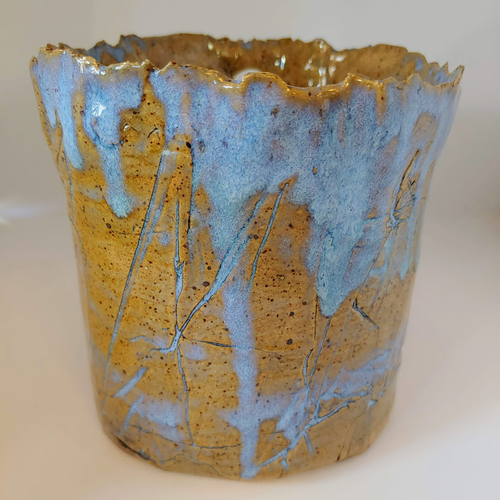 RedHead Pottery Jagged Blue Planter