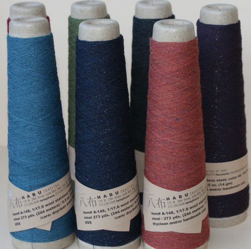 The colours of winter in Habu wool and stainless steel yarn