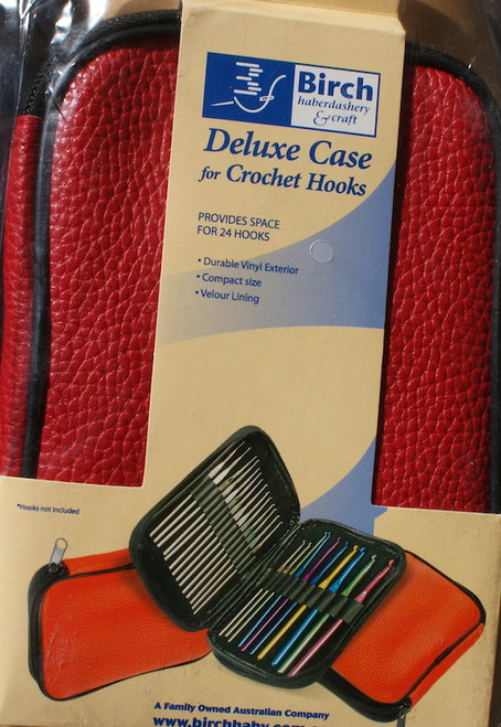 Red vinyl deluxe case for crochet hooks