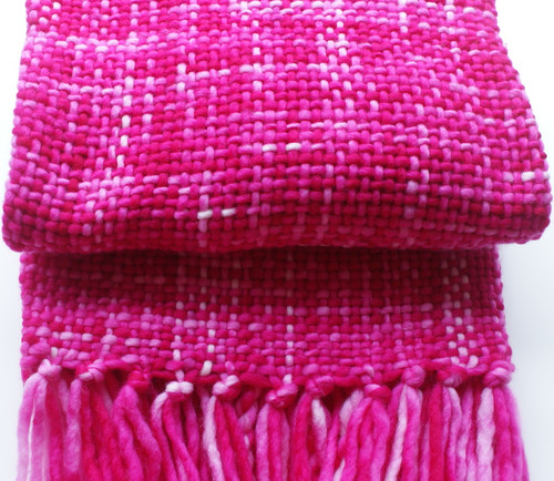 Hottest Pink throw rug. Handwoven in Mushroom yarn