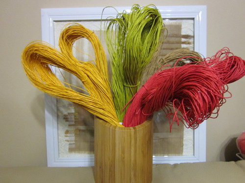 Paper yarn (or string) in a variety of colours. 625 tex, 180 metres, 100gram skeins.
