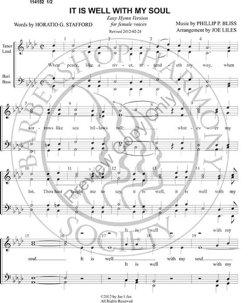 Music Sheet: It Is Well Hymn Sheet Music
