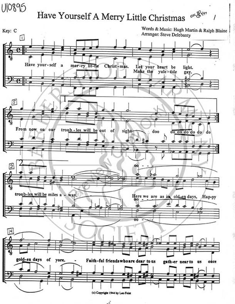 Have Yourself A Merry Little Christmas Sheet Music.Have Yourself A Merry Little Christmas 1 Ttbb Arr Stephen Delehanty Download Unpub