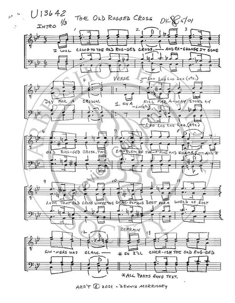 photograph regarding Old Rugged Cross Printable Sheet Music called Aged Rugged Cross 2 (TTBB) (arr. Dennis Morrissey)-Down load-UNPUB