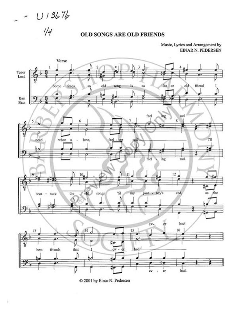 Old Songs Are Old Friends (TTBB) (arr  Einar Pedersen)-Download-UNPUB