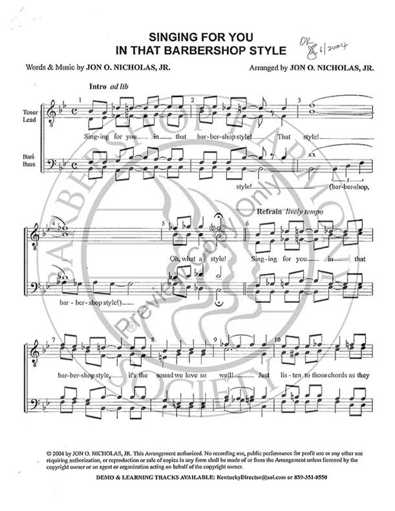 Singing For You In That Barbershop Style (TTBB) (arr. Jon Nicholas)-Download-UNPUB