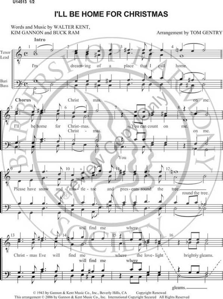 Ill Be Home For Christmas Sheet Music.I Ll Be Home For Christmas 3 Ttbb Arr Tom Gentry Download Unpub