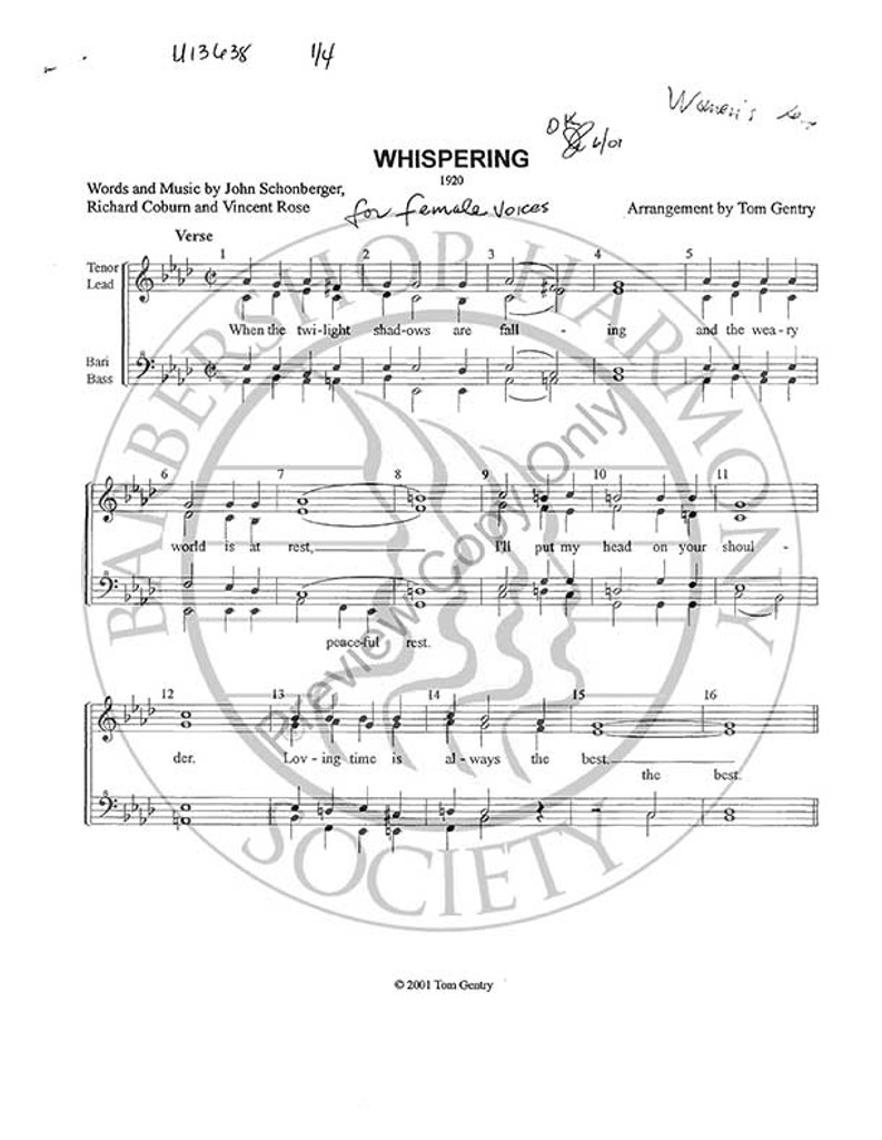 Whispering (SSAA) (arr. Tom Gentry)-Download-UNPUB