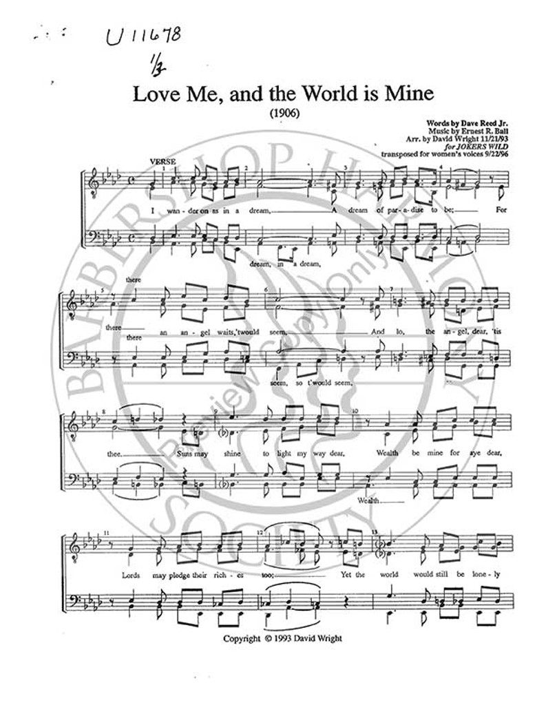 Love Me And The World Is Mine (SSAA) (arr. David Wright)-Download-UNPUB