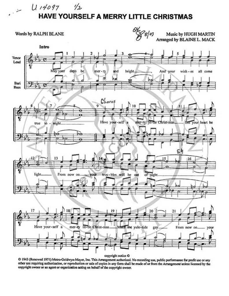 Have Yourself A Merry Little Christmas Sheet Music.Have Yourself A Merry Little Christmas 3 Ttbb Arr Blaine Mack Download Unpub