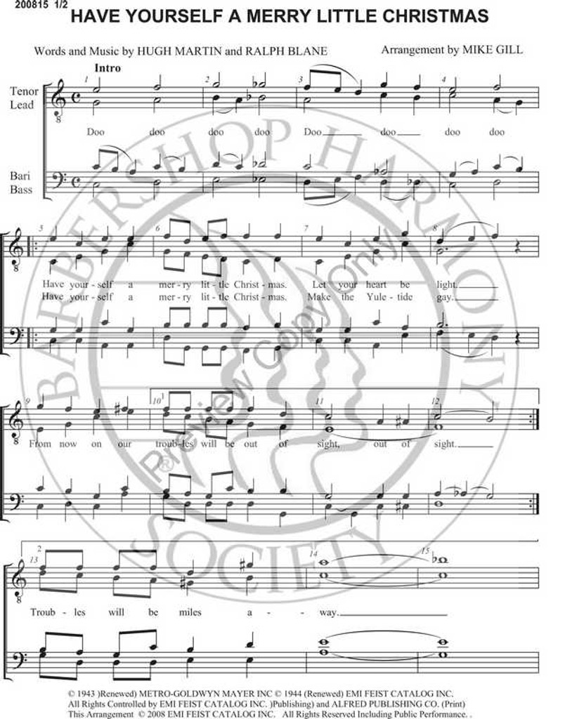 Have Yourself a Merry Little Christmas 4 (TTBB) (arr. M. Gill)-Download-UNPUB - Barbershop ...