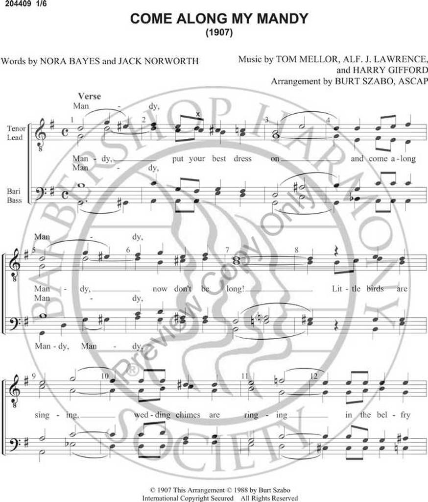 Come Along My Mandy (TTBB) (arr. Burt Szabo)-Download-UNPUB