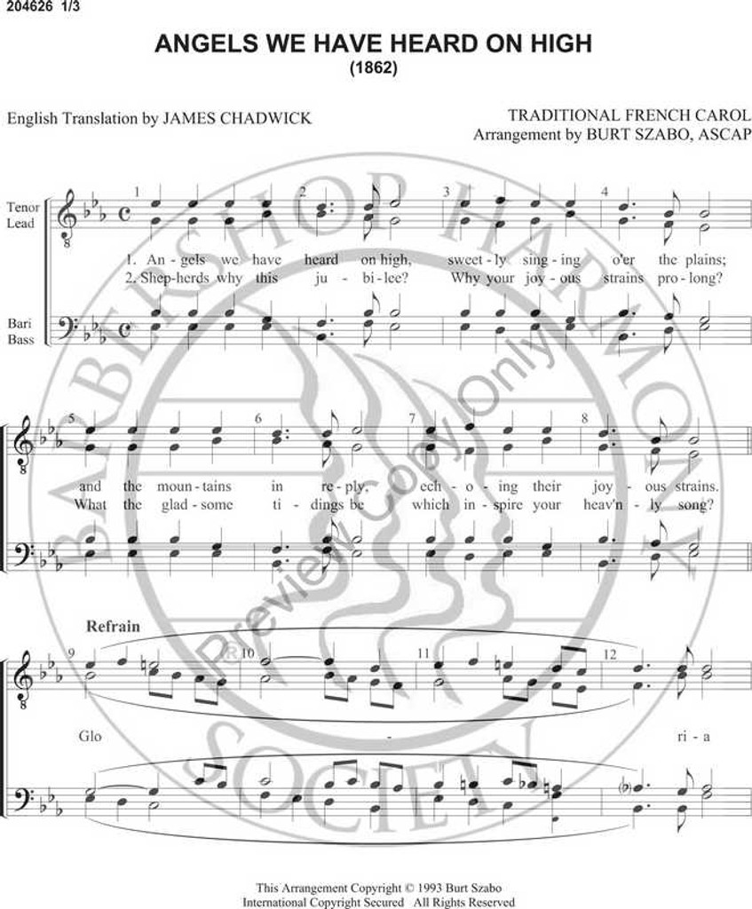 Angels We Have Heard On High (TTBB) (arr  Burt Szabo)-Download-UNPUB