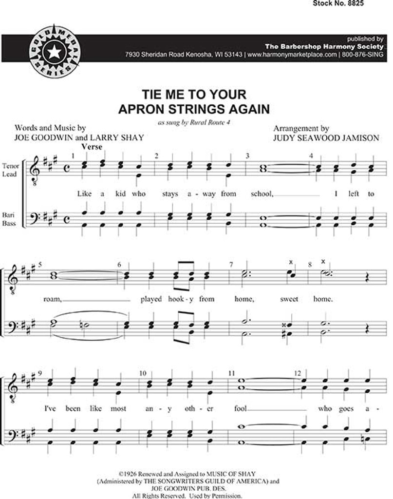 Tie Me To Your Apron String (TTBB) (arr. Jamison)