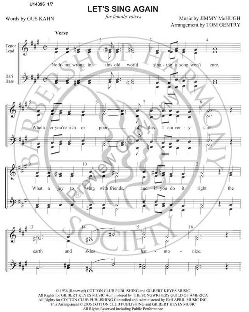 Let's Sing Again Medley (SSAA) (arr. Tom Gentry)-Download-UNPUB