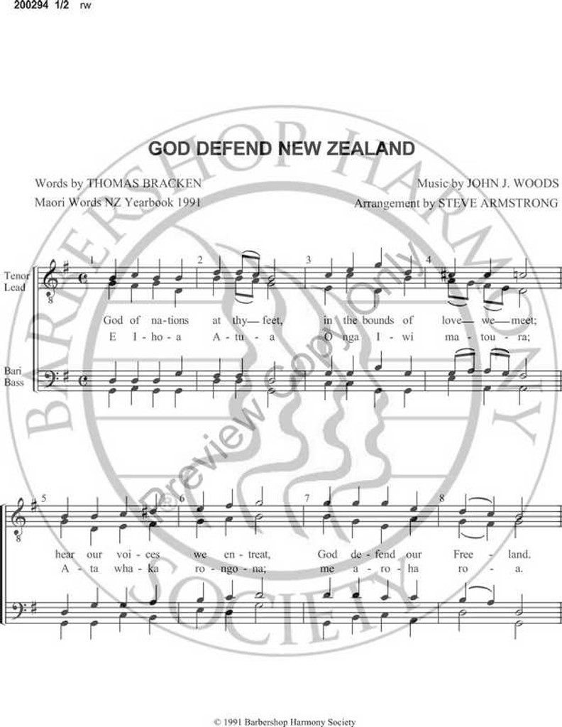 God Defend New Zealand (TTBB) (arr  Steven Armstrong)-Download-UNPUB