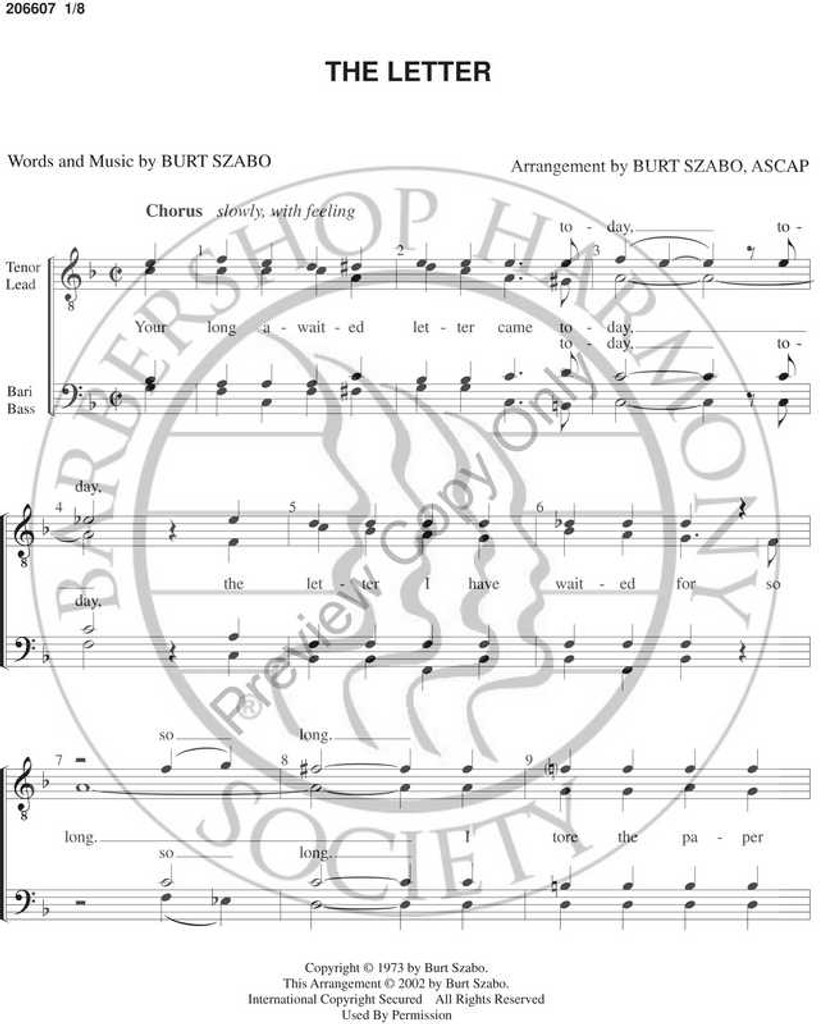 The Letter (TTBB) (arr. Burt Szabo)-Download-UNPUB