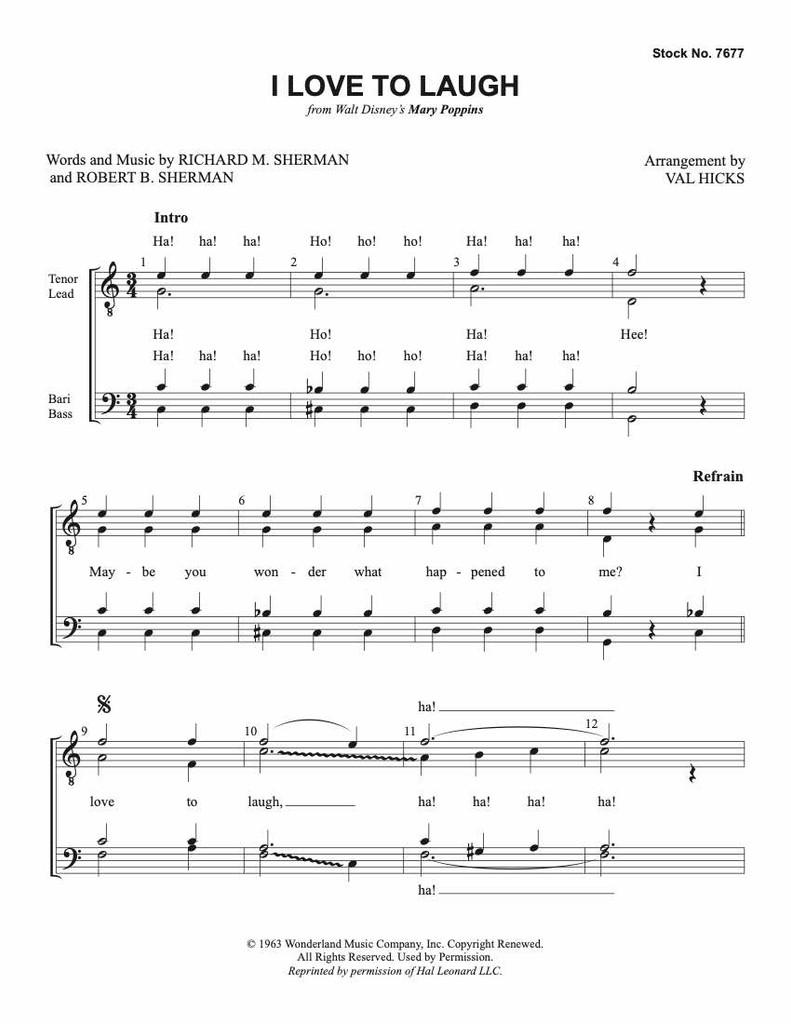 I Love To Laugh (from Walt Disney's MARY POPPINS) (TTBB) (arr. Hicks)
