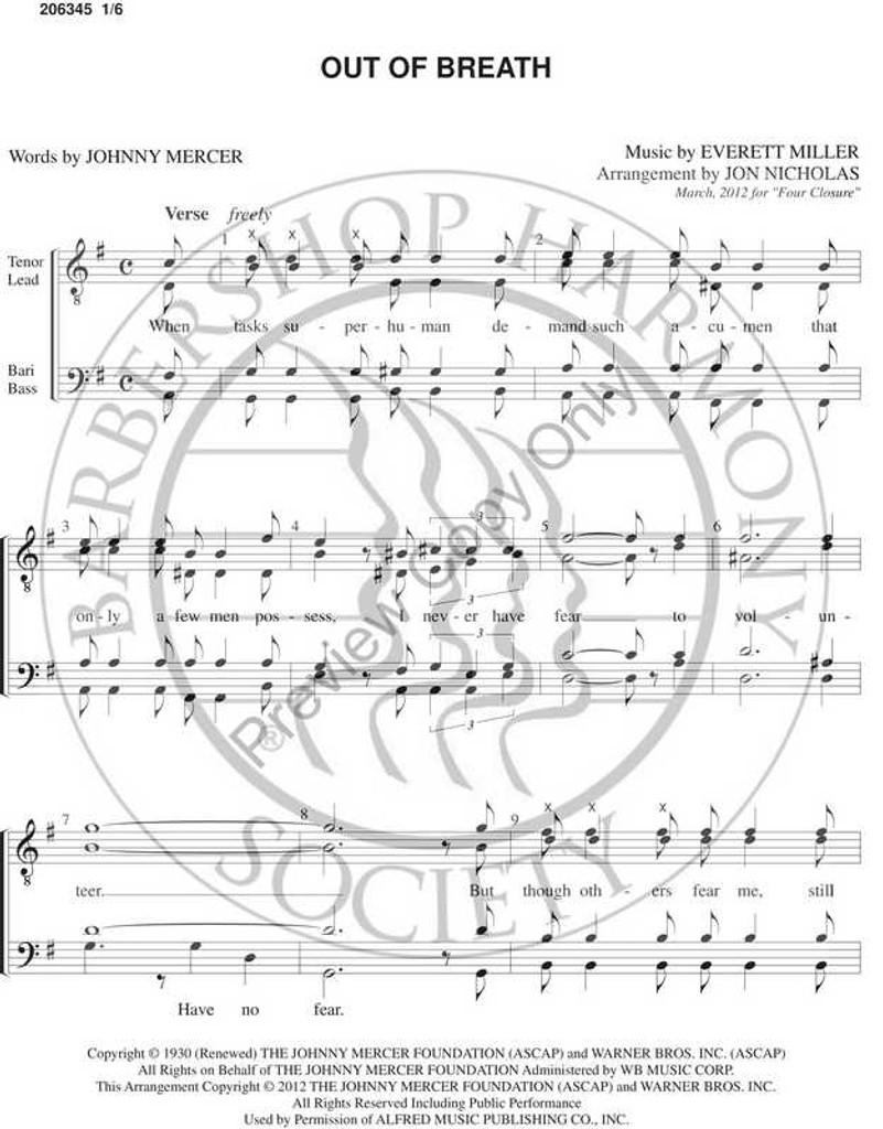 Out Of Breath (TTBB) (arr. Jon Nicholas)-Download-UNPUB