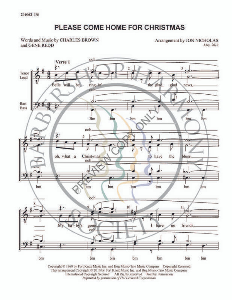 Please Come Home For Christmas 1 (TTBB) (arr. Jon Nicholas)-Download-UNPUB