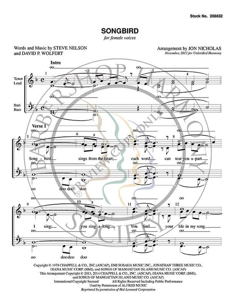 Songbird (SSAA) (arr. Jon Nicholas)-Download-UNPUB