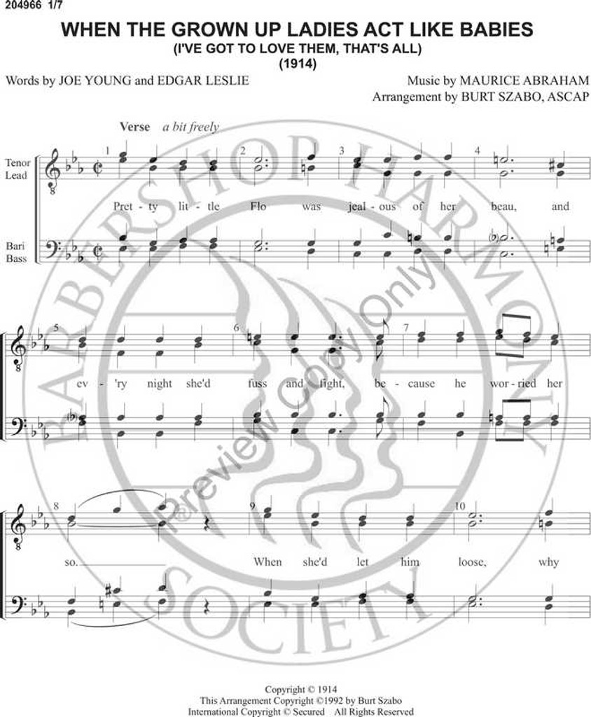 When The Grown Up Ladies Act Like Babies (TTBB) (arr. Burt Szabo)-Download-UNPUB