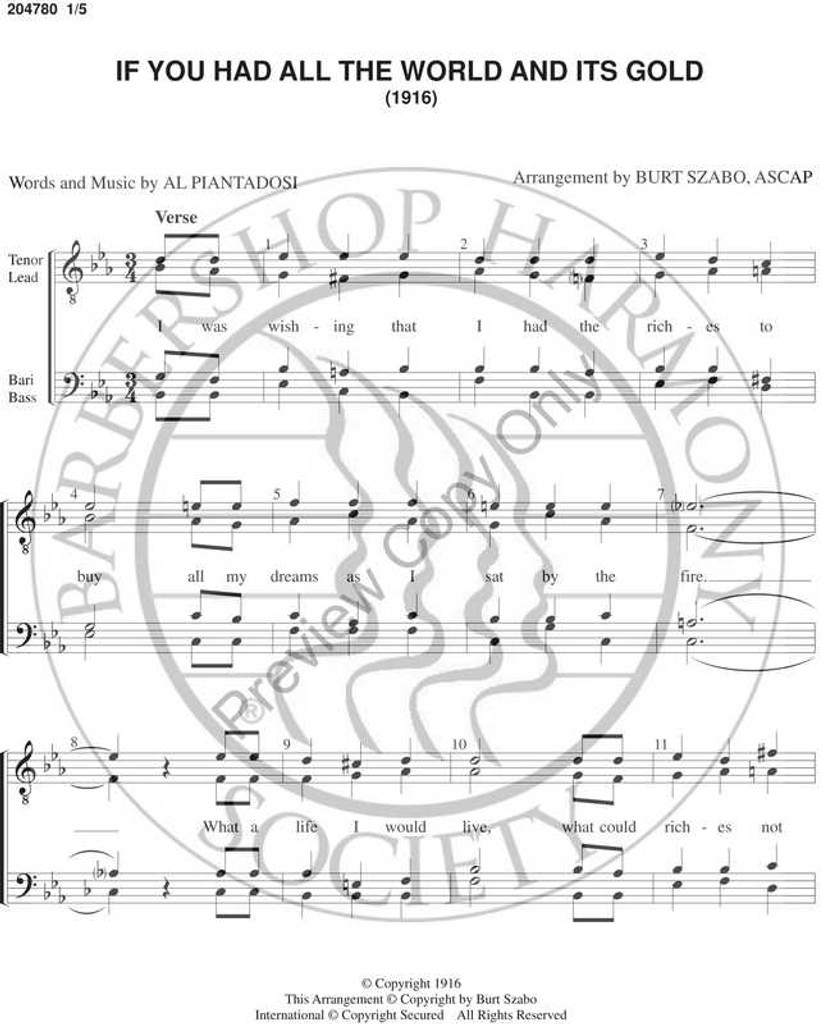If You Had All The World And Its Gold 2 (TTBB) (arr. Burt Szabo)-Download-UNPUB