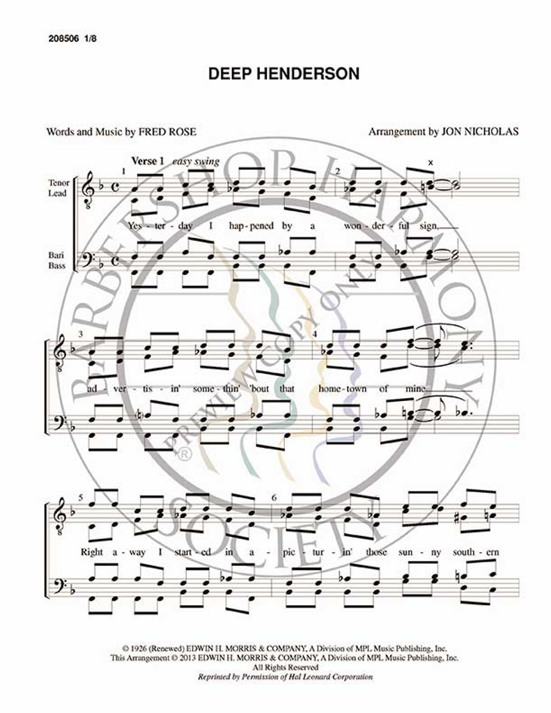 Deep Henderson (TTBB) (arr. Jon Nicholas)-Download-UNPUB