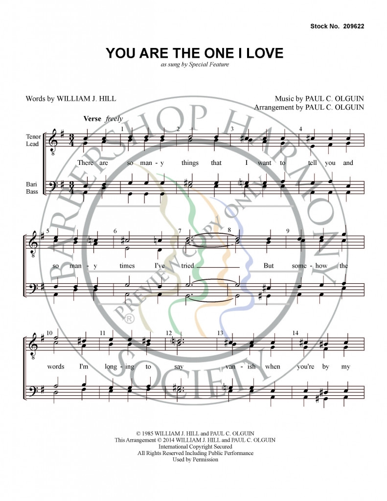 You Are the One I Love (TTBB) (arr. Olguin) - Download