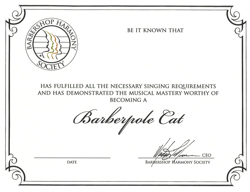 Barberpole Cat Certificate (Downloadable)
