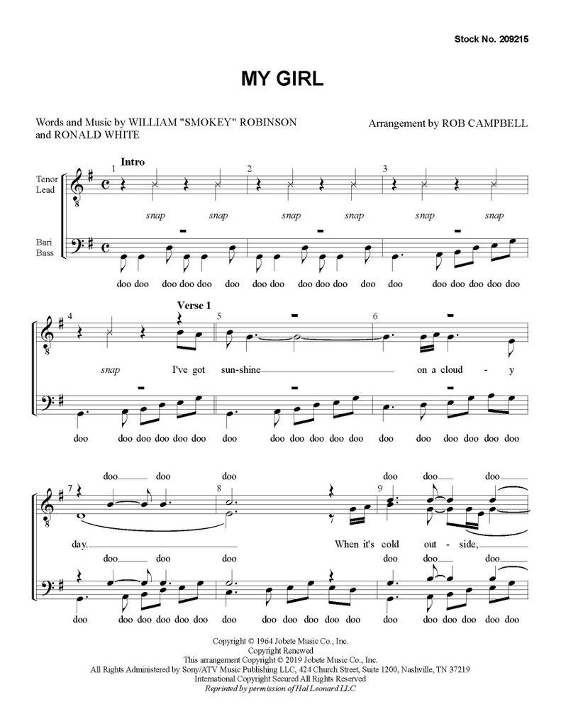 My Girl (TTBB) (arr. Campbell)