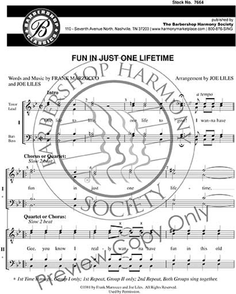Fun In Just One Lifetime (8-Part M/M) (arr. Liles) - Download