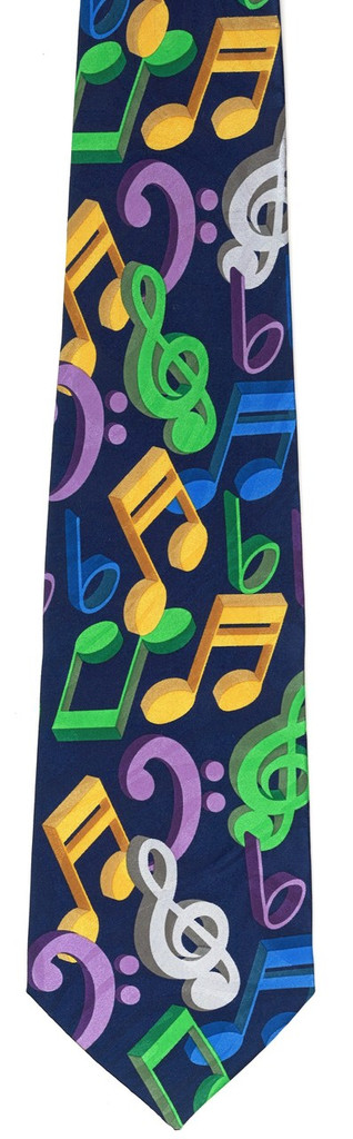 Tie - Navy Blue with Jumbled Notes