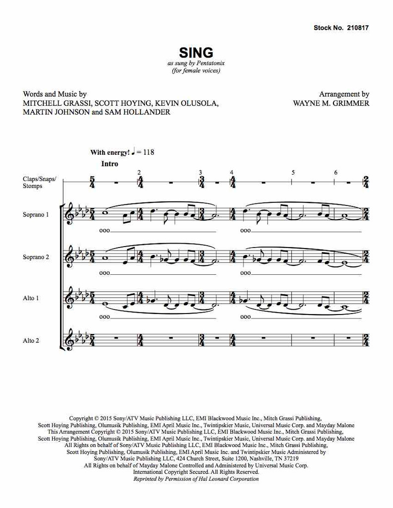 Sing (SSAA) (arr. Grimmer)