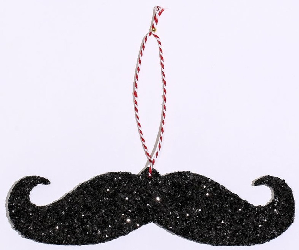 Give your home or tree a little barbershop class with our mustache ornament.  Ornament is laser-cut from wood, then hand-dipped in black glitter and harmony.  Perfect addition to any mustache lovers collection.   Hanging fabric stem stylishly designed with the barberpole theme and colors.