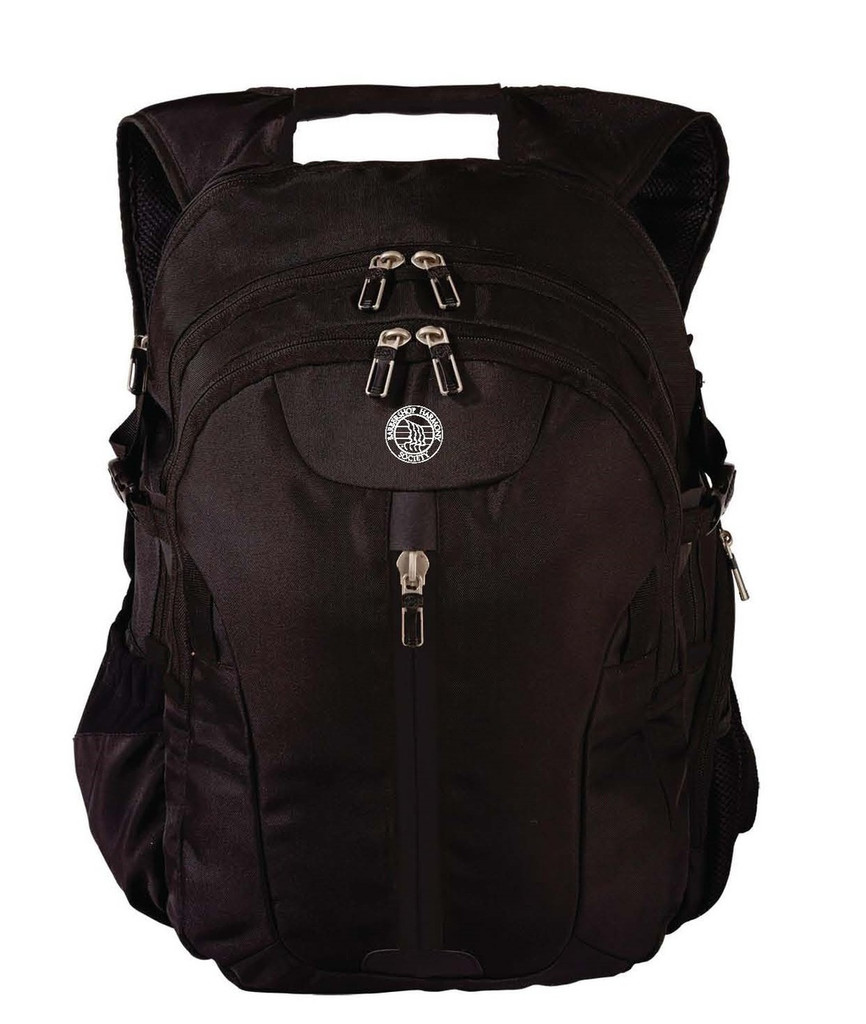 """Black backpack w/ 4"""" white BHS imprinted society seal.  Features two large front zippered compartments with two internal laptop/tablet sleeves each.   Front straight-down-the-middle zipper with complimentary mesh pocket.  Two outsides buckles positioned parallel to each other for expansion, heavy duty mesh side pockets, and a hidden cell phone compartment.    Last, but not least, a padded back and padded shoulder straps."""