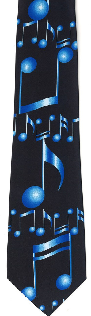 Tie - Large Musical Notes (Blue/Navy)