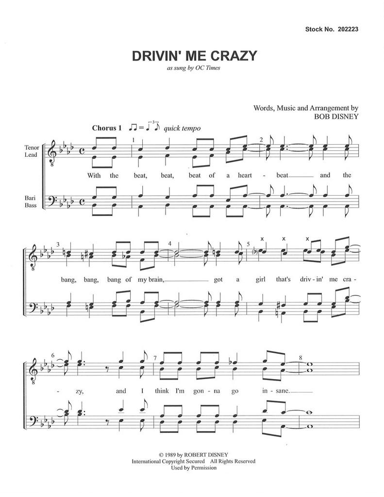 Drivin' Me Crazy (TTBB) (arr. Disney ) - Download