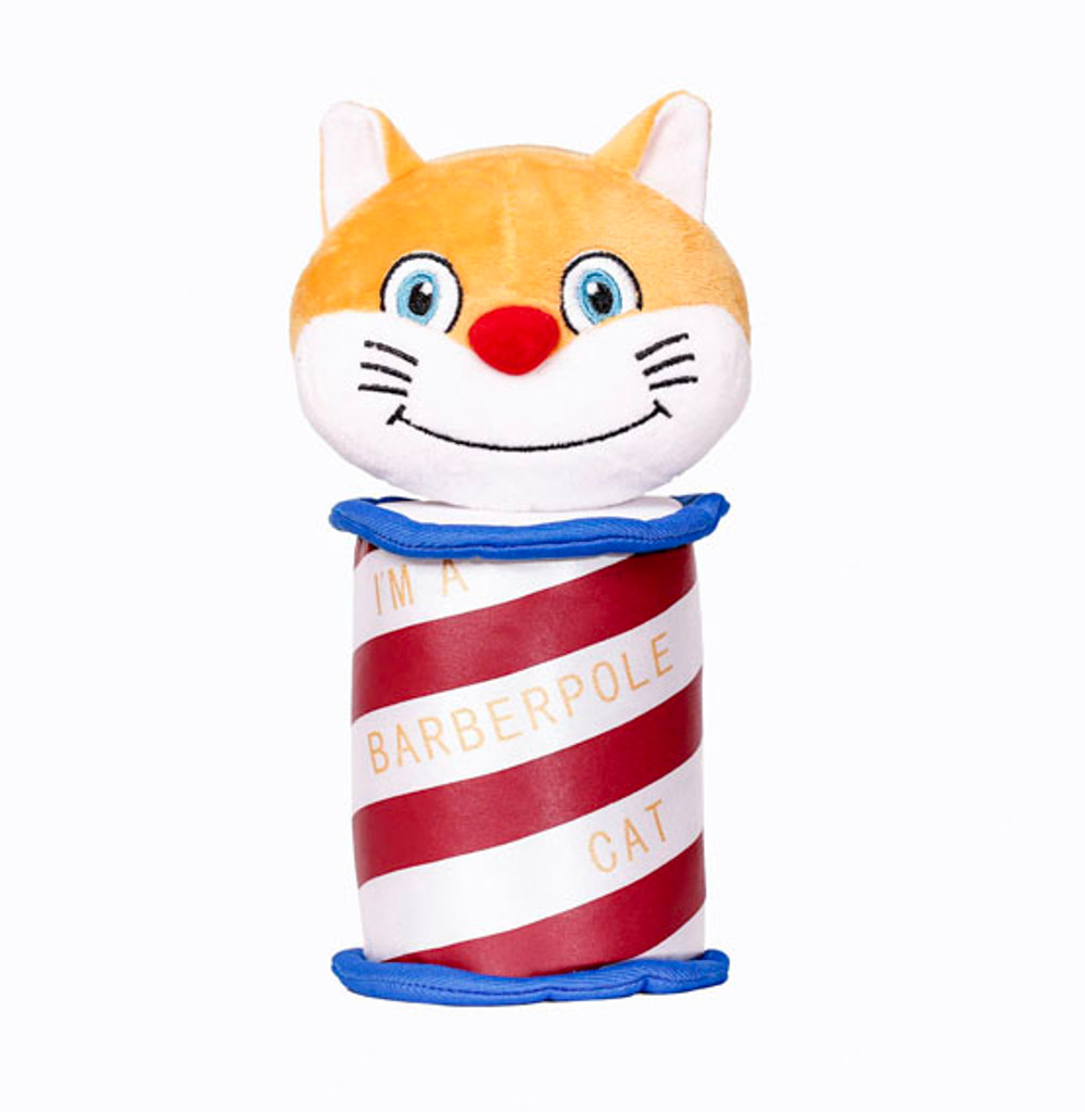 """Our Barberpole Cat cartoon cat is now a full-color, cuddly plush toy!  Whether you're learning the Barberpole Cat songs, or already a Barberpole Cat yourself, this groovy plush cat is the perfect way to let folks know you're a barberhopper. Also great for children.  Red, white, and blue themed with """"I'm A Barberpole Cat"""" etched and embroidered within the white stripes.   Plush is 8.5"""" H x 4.5"""" W and stands purrfectly on a desktop."""