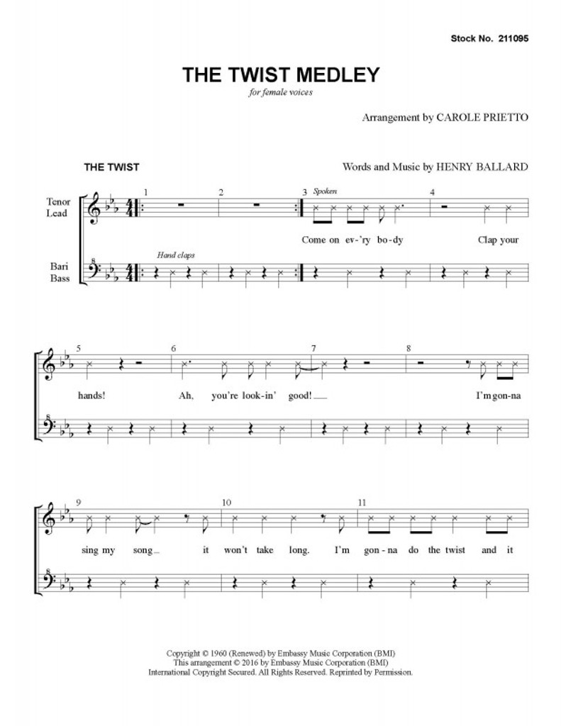 Twist Medley (Let's Twist Again/The Twist) (SSAA) (arr. Carole Prietto)-UNPUB