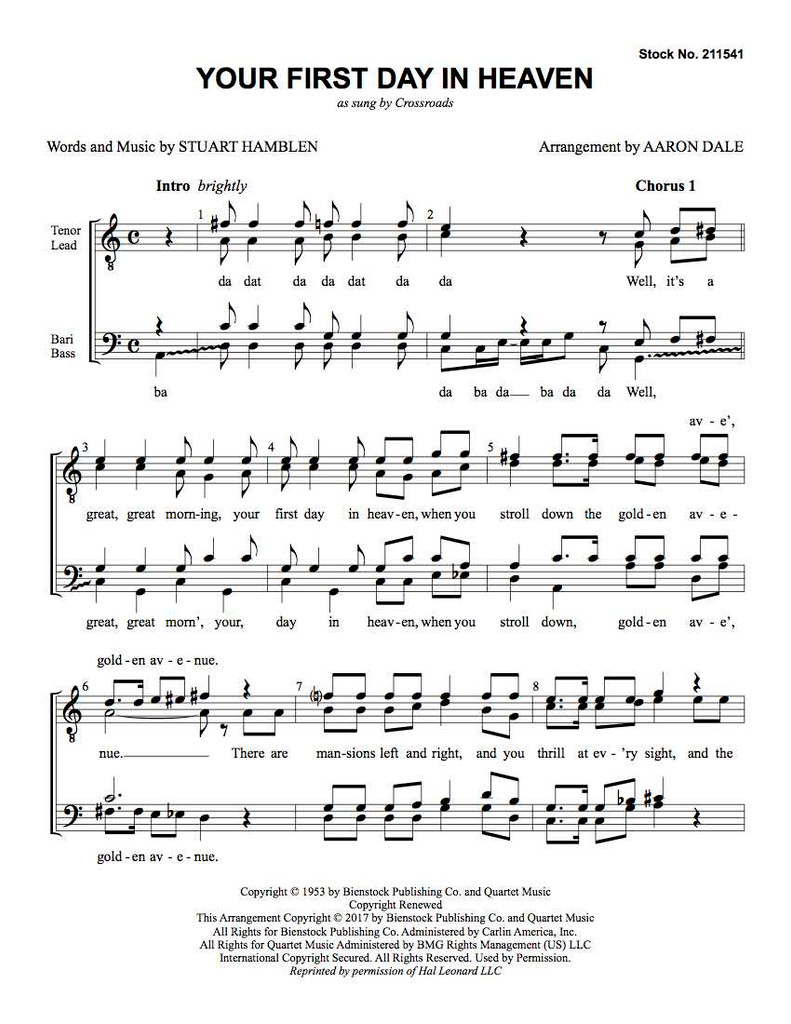 Your First Day in Heaven (TTBB) (arr. Dale)