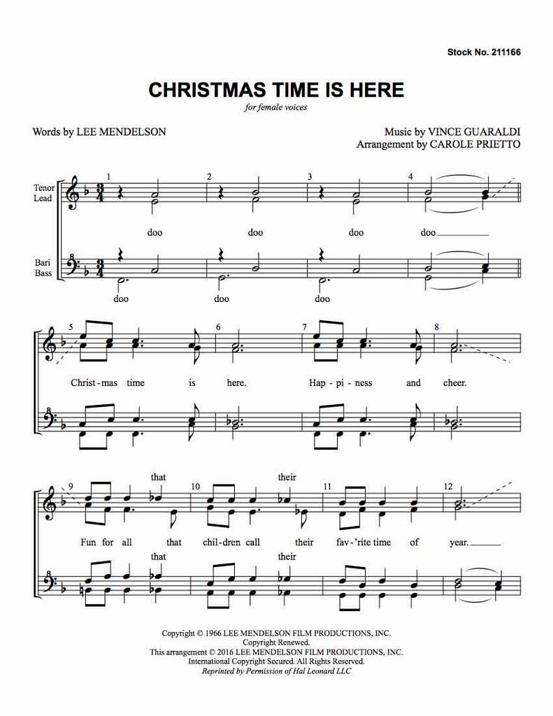 Christmas Time Is Here (SSAA) (arr. Prietto)